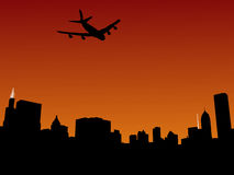 Plane arriving in Chicago. At sunset illustration Royalty Free Stock Photo