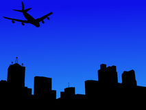 Plane arriving in Dallas. Four engine plane arriving in Dallas illustration Royalty Free Stock Image