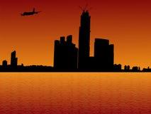 Plane arriving in Hong Kong. At sunset illustration Stock Images