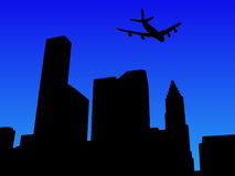 Plane arriving in Houston. Four engine plane arriving in Houston illustration Royalty Free Stock Photography