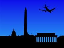 Plane Arriving In Washington DC Royalty Free Stock Photo
