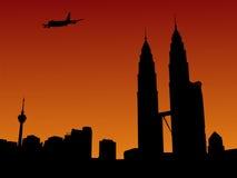 Plane arriving in Kuala Lumpur Royalty Free Stock Image