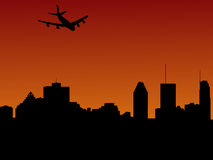 Plane arriving in Montreal. At sunset illustration Stock Photo