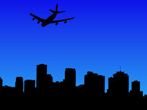 Plane arriving in New Orleans. Four engine plane arriving in New Orleans illustration Stock Images