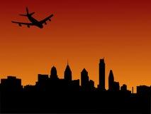 Plane arriving in Philadelphia. At sunset illustration Royalty Free Stock Photo