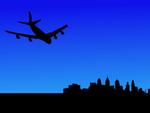 Plane arriving at Philadelphia. Four engine plane flying towards Philadelphia Royalty Free Stock Photo