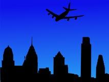 Plane arriving at Philadelphia. Four engine plane arriving at Philadelphia illustration Royalty Free Stock Images