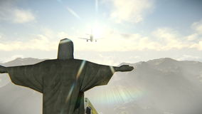 Plane arriving in Rio de Janeiro and Christ the Redeemer video vector illustration