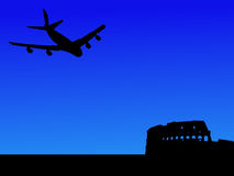 Plane arriving in Rome stock illustration