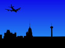 Plane arriving in San Antonio Royalty Free Stock Photography