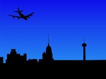 Plane arriving in San Antonio. Four engine plane arriving in San Antonio Royalty Free Stock Photography