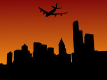 Plane arriving in seattle. At sunset illustration Royalty Free Stock Images