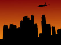 Plane arriving in Singapore. At sunset illustration Stock Photography