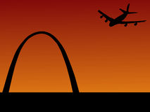 Plane arriving in St louis Stock Image