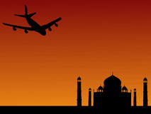 Plane arriving at Taj Mahal Royalty Free Stock Image
