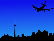 Plane arriving in Toronto. Four engine plane arriving in Toronto illustration Stock Photography