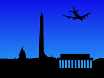 Plane arriving in Washington DC royalty free stock photo