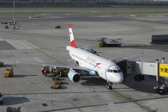 Plane Austrian airline at the airport in Vienna Stock Images