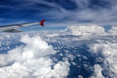 Plane of Austrian Airlines in the sky Royalty Free Stock Photography