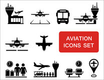 Plane and aviation icons with red signboard. Plane silhouette and aviation, airports icons with red signboard Royalty Free Stock Image