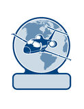 Plane on the background of the planet symbol of air transportation Royalty Free Stock Photo