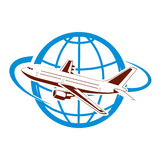 Plane on the background of the planet symbol of air transportation Royalty Free Stock Photos
