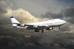 Plane in bad weather. Plane is flying in bad weather stock image