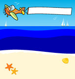 Plane with banner. Vector illustration depicting an airplane moving in the sky a white banner. The plane flies over a beach, you see sailboats on the horizon Stock Photos