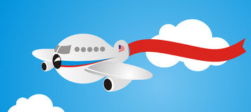 Plane with banner Royalty Free Stock Image