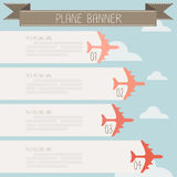 Plane banner on sky. Vector Stock Image