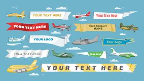 Plane banner vector airplane or aircraft with blank message advertisement and text template ad in illustration set of. Aeroplane or airliner advertising in sky Stock Images