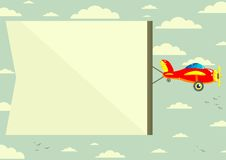 Plane with Banner, Vector Illustration Royalty Free Stock Photography