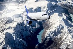 Plane blue cloud travel transportion airplane mountains. Plane black white travel transportion airplane Royalty Free Stock Photo