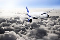 Plane blue cloud sky travel transportion airplane mountains. Plane black white travel transportion airplane Royalty Free Stock Images