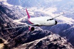 Plane mauve pink travel transportion airplane mountains. Plane black white travel transportion airplane Royalty Free Stock Image
