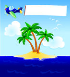 Plane and blank banner vector illustration