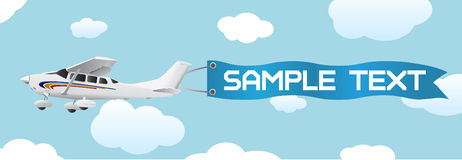 Plane with blank banner vector. In color