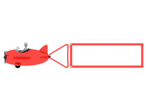 Plane with blank label. Red plane with blank label; 3d render Stock Image