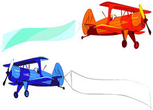 Plane with blank sky banner, vector illustration Royalty Free Stock Image