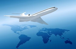 Plane on blue background with world map Royalty Free Stock Photos