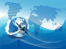 Plane on blue globe Stock Image