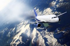 Plane blue sky cloud travel transportion airplane mountains. Plane blue cloud travel transportion airplane Stock Images