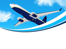 Plane on blue sky frame Stock Photography