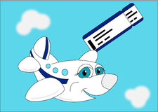 The plane with boarding pass. Illustration plane with boarding pass on a sky background stock illustration