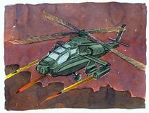 Plane bombard. Watercolor on paper, and a realistic manner Stock Photo