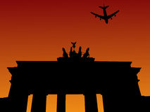Plane and Brandenburg gate Royalty Free Stock Image