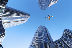 Plane And Building Royalty Free Stock Photos