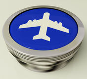 Plane Button Means Travel Or Vacation Stock Photo