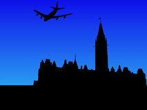Plane and Canadian parliament Stock Photo