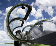 Plane canopy. A plane canopy open with sky in background Royalty Free Stock Photo